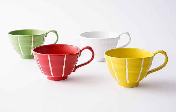 波佐見焼 スープカップ 4色セット 色十草(ホワイト・イエロー・グリーン・レッド)