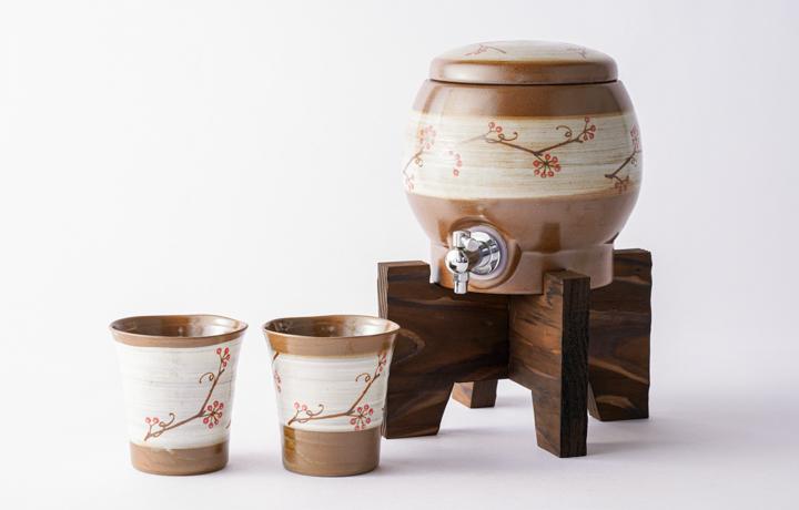 波佐見焼 粉引木の実 焼杉台付焼酎サーバーセット